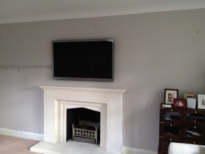 Flat Screen TV Was Mounted Above Fireplace ...